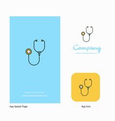 Stethoscope company logo app icon and splash page vector