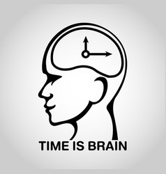 Stroke brain logo icon design time is brain vector