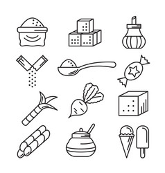 sugar icons line art isolated on white vector image
