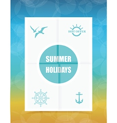 Summer Label on Folded paper vector