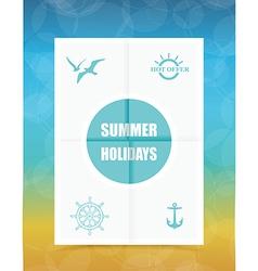 Summer label on folded paper vector