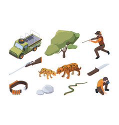 Touristic safari african wild hunting for animals vector