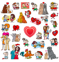 valentines cartoons large set vector image