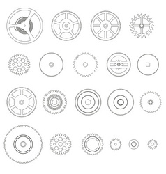 Various outline cogwheels parts watch movement vector