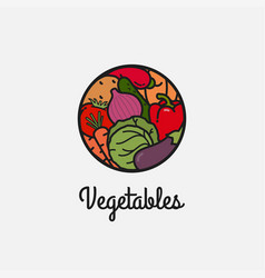 vegetables linear logo on white icon background vector image