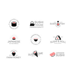 Vintage japanese food and sushi logo emblems vector