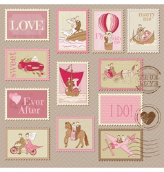 Wedding Postage Stamps vector image