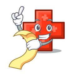 with menu cross mascot cartoon style vector image
