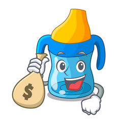 With money bag character baby training cup with vector