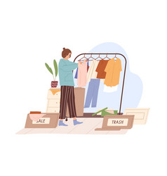 Woman decluttering and organizing wardrobe vector