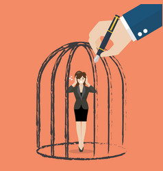 business woman standing in a hand drawn cage vector image