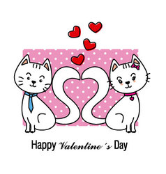 Cats in love Valentine card vector image