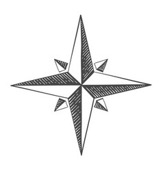 compass rose hand drawn sketch vector image