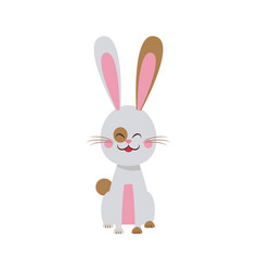 Cute easter bunny spring celebration design vector