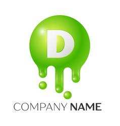 d letter splash green dots and bubbles letter vector image vector image