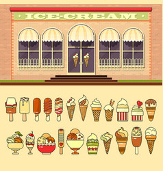 ice cream shop and set of cute various desserts vector image vector image