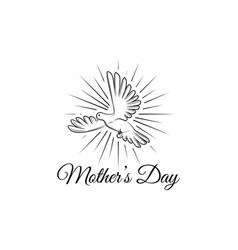 mothers day greeting card with dove in beams vector image