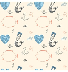 ornament seamless cute sea objects collection vector image vector image