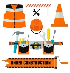 set of construction equipment orange vector image vector image