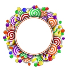Frame with colorful candies vector image