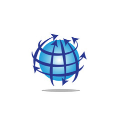 globe with lines and arrows vector image vector image