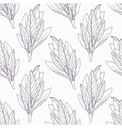 Hand drawn sage branch outline seamless pattern vector image vector image