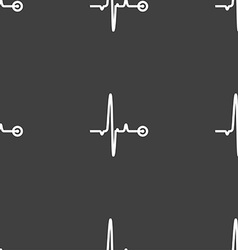 Heartbeat sign Seamless pattern on a gray vector image