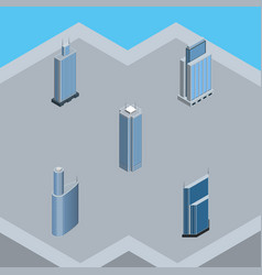 isometric building set of building skyscraper vector image
