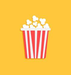 popcorn icon in flat style cinema food on orange vector image