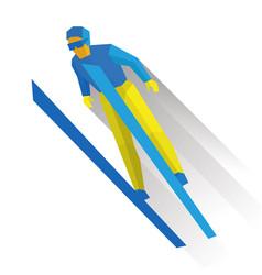 ski jumping cartoon skier during a jump vector image
