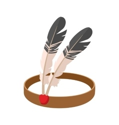 American Indian headdress cartoon icon vector image