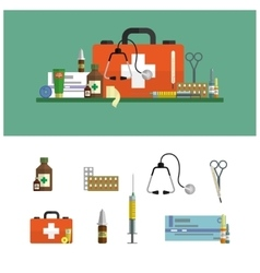 Health care medical flat banners First aid icons vector image vector image