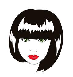 lovely woman face with bob haircut logo vector image