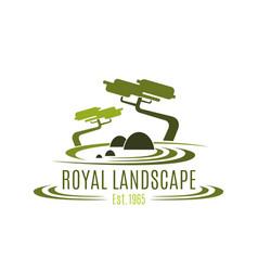 Royal landscape design company icon vector