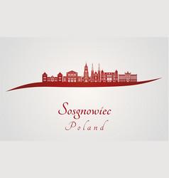 sosgnowiec skyline in red vector image vector image