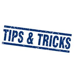 square grunge blue tips tricks stamp vector image vector image