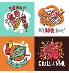 Bbq Grill Design Concept Set vector image vector image