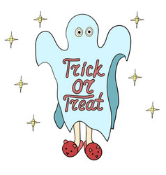 Cartoon ghost in badspread trick or treat vector