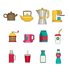 drink icon set flat vector image vector image
