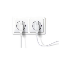 electric plugs and socket realistic white plugs vector image vector image