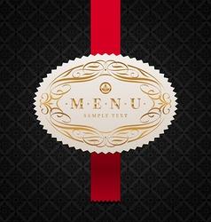 framed ornate menu label vector image vector image