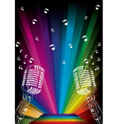 microphone on rainbow vector image vector image