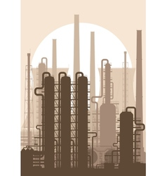 Oil refinery or chemical plant silhouette vector image vector image