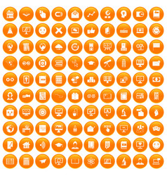 100 e-learning icons set orange vector