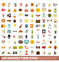 100 hangout firm icons set flat style vector
