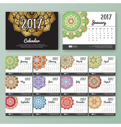 12 month desk calendar template for print vector image