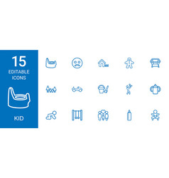 15 kid icons vector