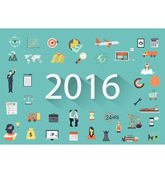 2016 with flat icon vector image