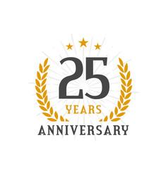 25 years anniversary golden laurel wreath logo vector image