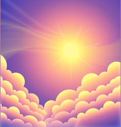 Above clouds purple sunset sky with yellow sun vector
